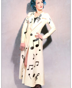 Long Latex Musical Notes Coat