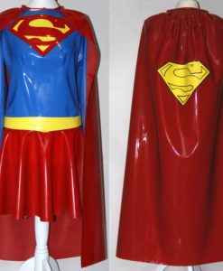 Latex Caped Supergirl Cosplay Outfit