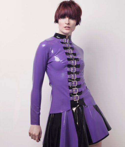 Purple Latex Buckle Jacket