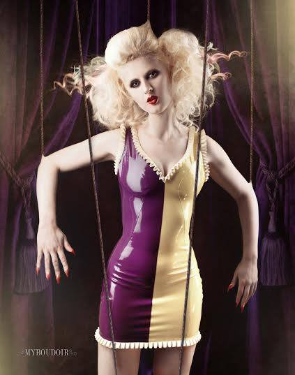 Latex Frilled Two Tone Dress