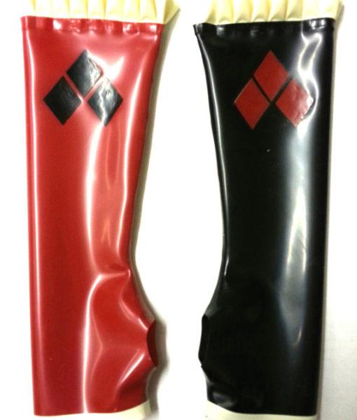 Harley Quinn Gloves Long Latex Gauntlets