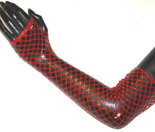 Long Latex Fishnet Gauntlets