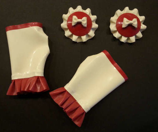 Red frilled pasties and gauntlets